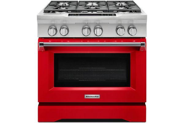 "KitchenAid 36"" Signature Red Dual Fuel Slide-In Range - KDRS467VSD"