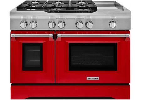 "KitchenAid 48"" Signature Red Dual Fuel Freestanding Range - KDRS483VSD"