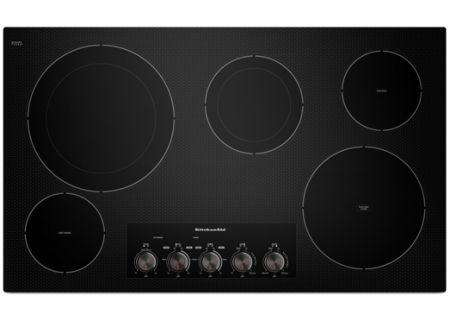 "KitchenAid 36"" Black 5-Element Electric Cooktop - KECC664BBL"
