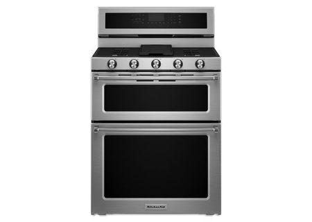 "KitchenAid 30"" Stainless Steel Dual Fuel Double Oven Range - KFDD500ESS"