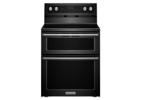 "KitchenAid 30"" Electric Double Oven Black Convection Range - KFED500EBL"