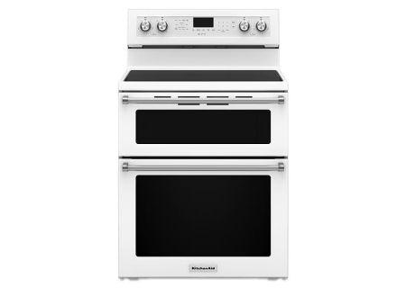 "KitchenAid 30"" Electric Double Oven White Convection Range - KFED500EWH"