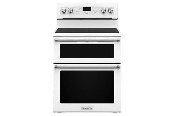 "KitchenAid 30"" White Electric Double Oven Convection Range - KFED500EWH"
