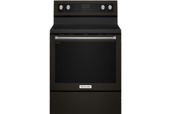 "Large image of KitchenAid 30"" Black Stainless Steel Freestanding Electric Range - KFEG500EBS"
