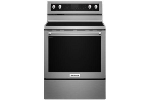 "Large image of KitchenAid 30"" Stainless Steel Freestanding Electric Range - KFEG500ESS"