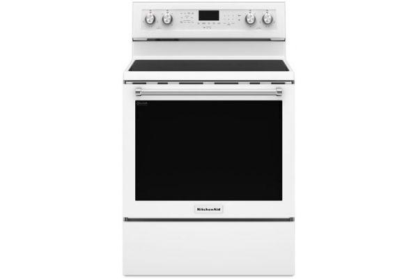 """Large image of KitchenAid 30"""" White Freestanding Electric Range - KFEG500EWH"""