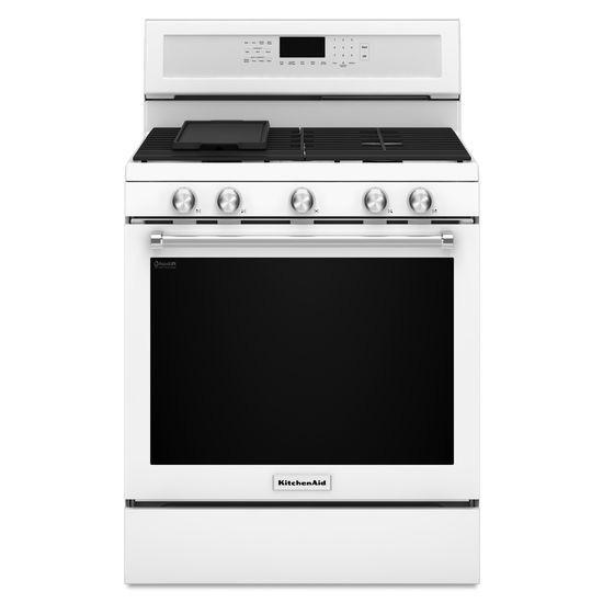 """White Kitchenaid kitchenaid 30"""" white freestanding gas range - kfgg500ewh"""