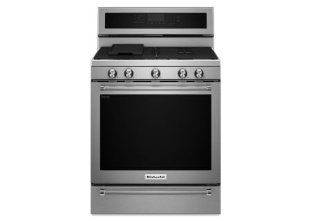 "KitchenAid 30"" Stainless Steel Freestanding Gas Range  - KFGS530ESS"