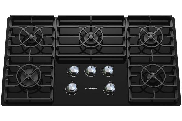 "Large image of KitchenAid 36"" Gas Cooktop - Black Finish - KGCC566RBL"
