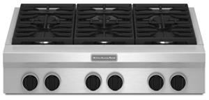 """Kitchenaid 6 Burner Gas Cooktop kitchenaid 36"""" 6 sealed burner gas cooktop - kgcu467vss"""