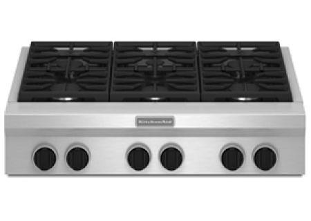 Kitchenaid 36 Quot 6 Sealed Burner Gas Cooktop Kgcu467vss