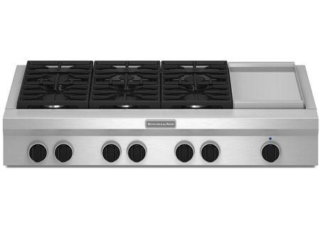 "KitchenAid 48"" Stainless Steel Gas Rangetop - KGCU483VSS"