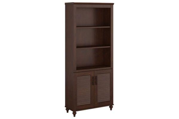 Bush Furniture Coastal Cherry Volcano Dusk Bookcase With Doors - KI30320-03