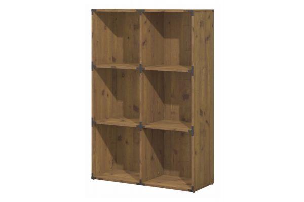 kathy ireland Office By Bush Furniture Vintage Golden Pine Ironworks 6 Cube Bookcase - KI50103-03