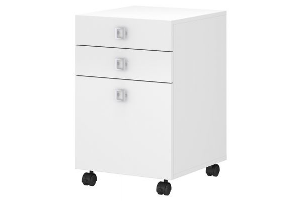 Large image of Office by Kathy Ireland Echo 3 Drawer Mobile File Cabinet In Pure White - KI60101-03