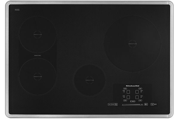 """Large image of KitchenAid 30"""" Stainless Steel Electric Induction Cooktop - KICU509XSS"""