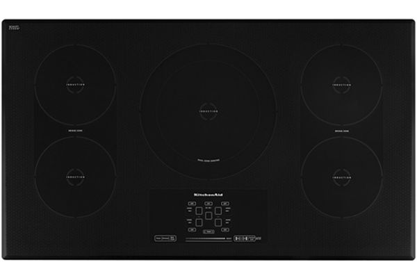 "Large image of KitchenAid 36"" Black Electric Induction Cooktop - KICU569XBL"