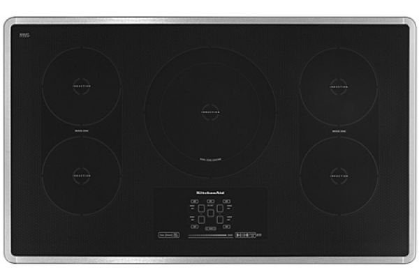 """Large image of KitchenAid 36"""" Stainless Steel Electric Induction Cooktop - KICU569XSS"""