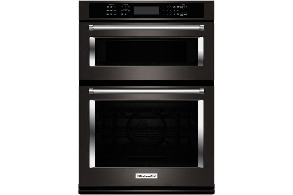 """Large image of KitchenAid 30"""" Black Stainless Combination Convection Wall Oven - KOCE500EBS"""