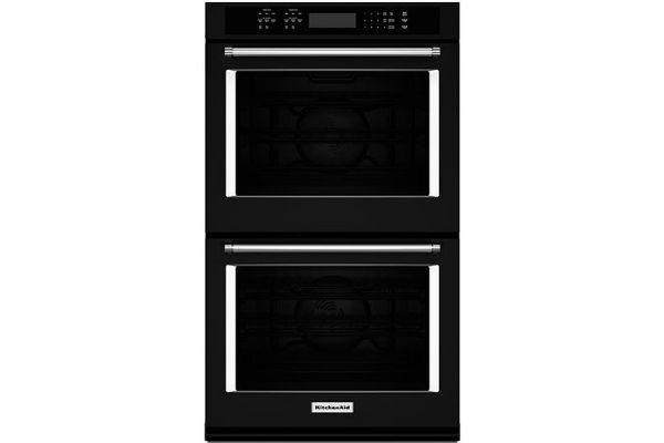 "Large image of KitchenAid 30"" Black Double Wall Oven - KODE500EBL"