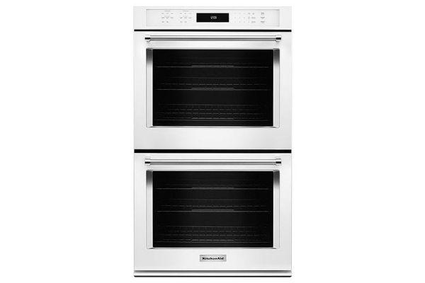 "Large image of KitchenAid 30"" White Double Wall Oven - KODE500EWH"