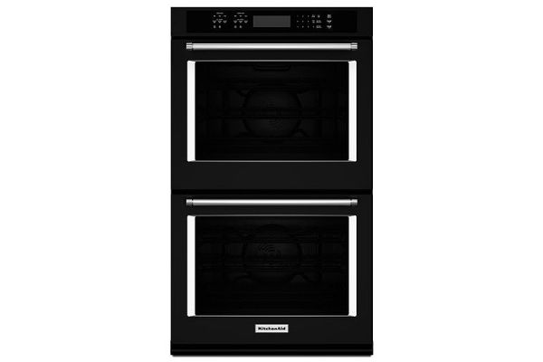 "KitchenAid 27"" Black Double Wall Oven - KODE507EBL"