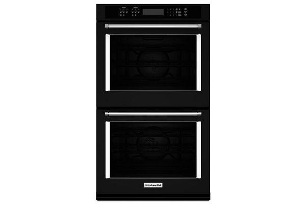 "Large image of KitchenAid 27"" Black Double Wall Oven - KODE507EBL"