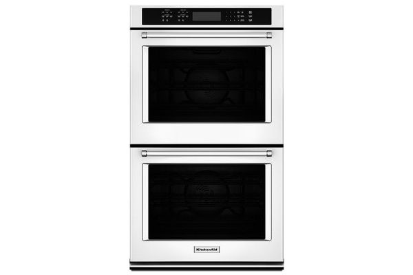"Large image of KitchenAid 27"" White Double Wall Oven - KODE507EWH"