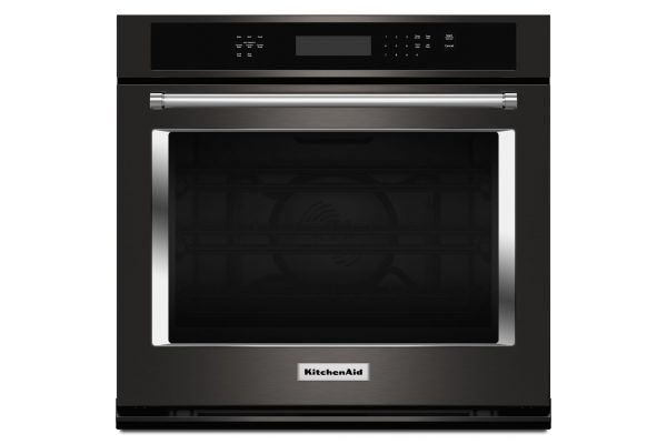 "KitchenAid 30"" Black Stainless Single Wall Oven  - KOSE500EBS"