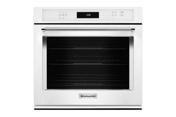 """Large image of KitchenAid 30"""" White Single Wall Oven - KOSE500EWH"""