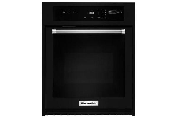 "Large image of KitchenAid 27"" Black Electric Single Wall Oven  - KOSE507EBL"