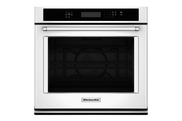 "Large image of KitchenAid 27"" White Electric Single Wall Oven - KOSE507EWH"