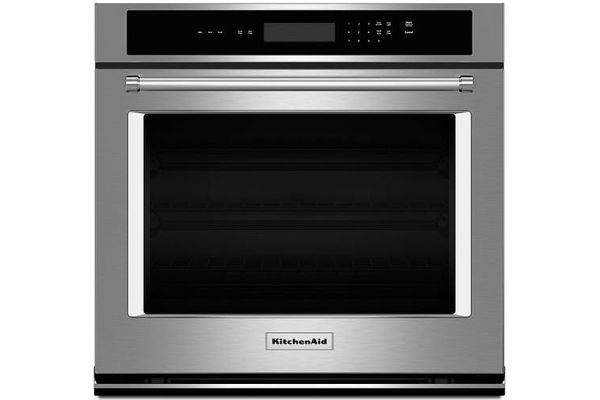 """Large image of KitchenAid 27"""" Stainless Steel Single Wall Oven - KOST107ESS"""