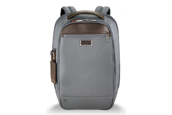 Large image of Briggs & Riley Grey @Work Medium Slim Backpack - KP420-10