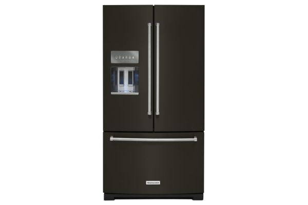 """Large image of KitchenAid 36"""" PrintShield Black Stainless Steel French Door Refrigerator With Exterior Ice And Water - KRFF507HBS"""