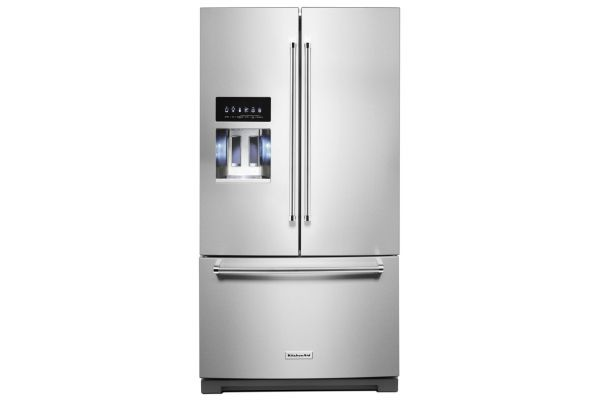"""Large image of KitchenAid 36"""" PrintShield Stainless Steel French Door Refrigerator With Exterior Ice And Water - KRFF507HPS"""