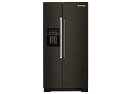 KitchenAid Black Stainless Steel Counter-Depth Side-By-Side Refrigerator - KRSC503EBS