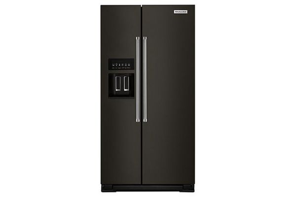 KitchenAid Black Stainless Steel Counter-Depth Side-By-Side Refrigerator - KRSC503EBS