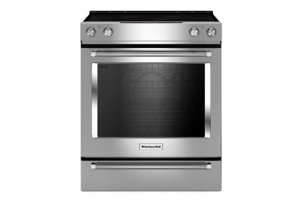 """KitchenAid 30"""" Stainless Steel Electric Slide-In Convection Range - KSEB900ESS"""