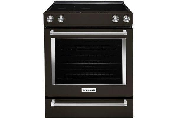 "KitchenAid 30"" Black Stainless Steel Slide-In Electric Range - KSEG700EBS"
