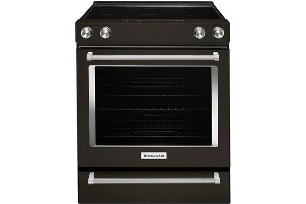 "Large image of KitchenAid 30"" Black Stainless Steel Slide-In Electric Range - KSEG700EBS"
