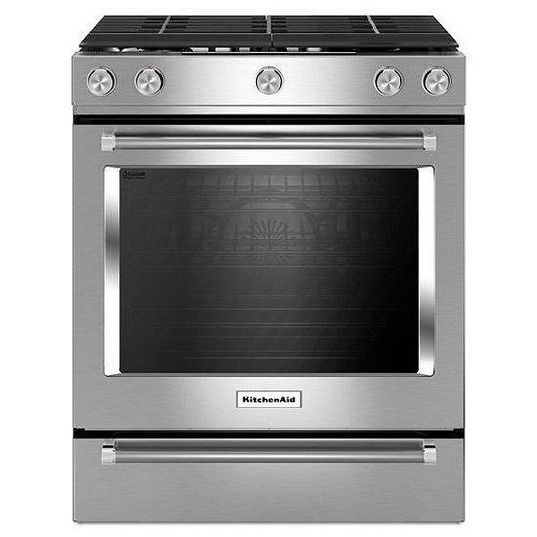 "Kitchenaid Microhood kitchenaid 30"" stainless slide-in gas range - ksgg700ess"
