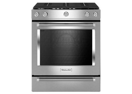 "KitchenAid 30"" Stainless Steel Slide-In Gas Range - KSGG700ESS"