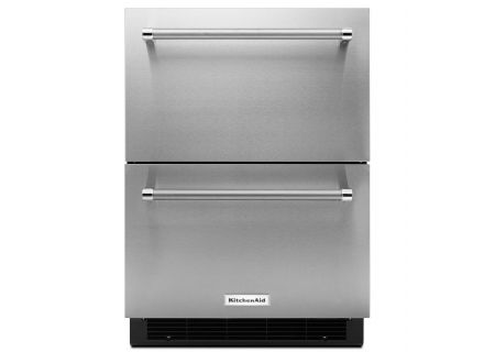 "KitchenAid 24"" Stainless Steel Double Refrigerator Drawer - KUDR204ESB"