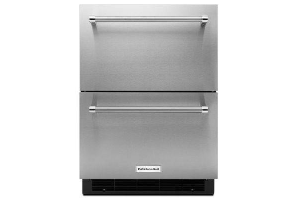 "Large image of KitchenAid 24"" Stainless Steel Double Refrigerator Drawer - KUDR204ESB"