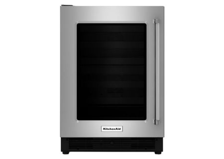"KitchenAid 24"" Stainless Steel With Glass Door Undercounter Refrigerator  - KURL204ESB"