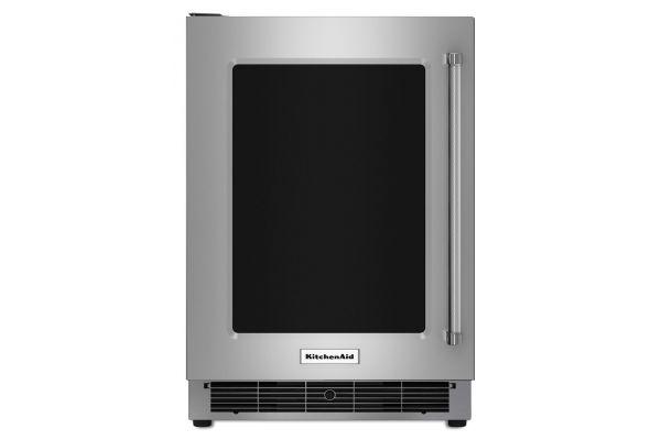 "Large image of KitchenAid 24"" Stainless Steel Undercounter Glass Door Refrigerator  - KURL304ESS"