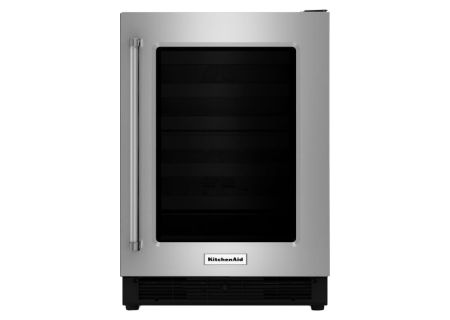 "KitchenAid 24"" Stainless Steel With Glass Door Undercounter Refrigerator - KURR204ESB"