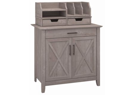 Bush Furniture Key West Collection Washed Gray Laptop Storage Credenza With Desktop Organizers  - KWS011WG