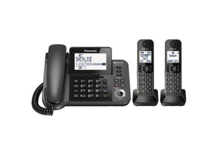 Panasonic Link2Cell Metallic Black Bluetooth Corded Phone System With 2 Handsets  - KX-TGF382M